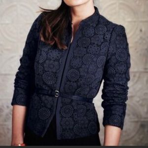 Boden Navy Floral Lace Embroidered Jacket Blazer